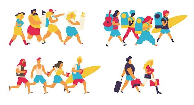 Colorful tourists set Premium Vector