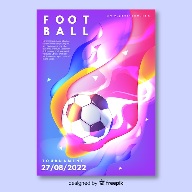 Colorful tournament football poster template Free Vector