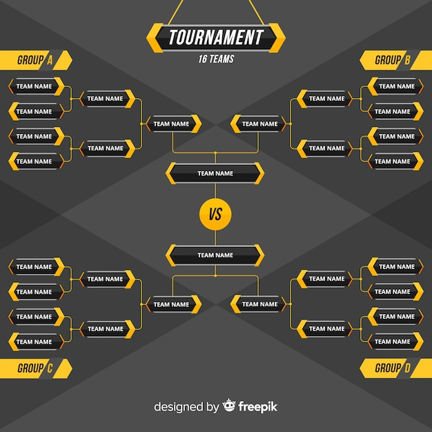 Colorful tournament schedule with flat design Free Vector
