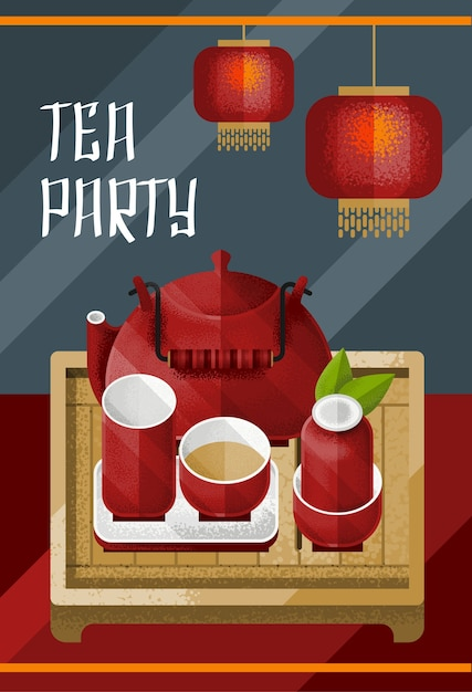 Colorful traditional tea ceremony template with red lamps kettle and pair on table Free Vector