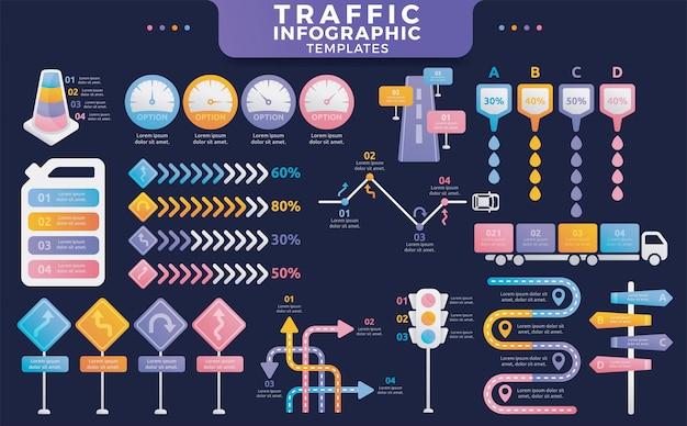 Colorful traffic infographic templates Premium Vector