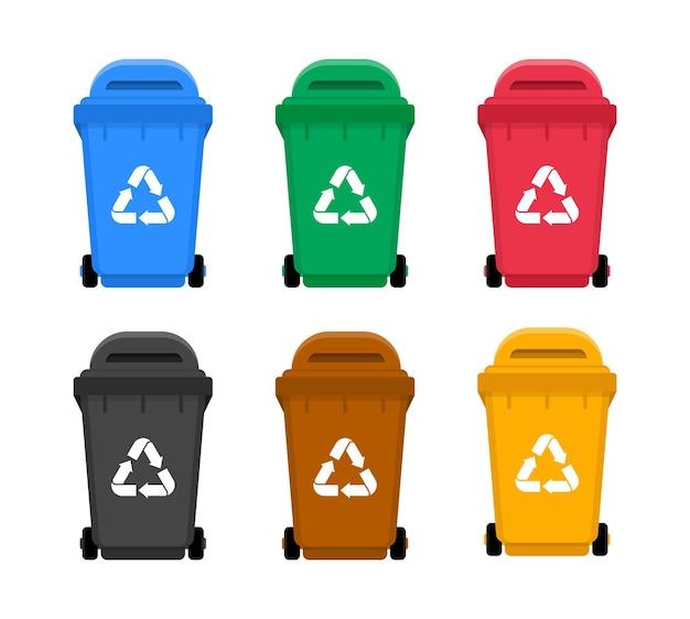 Красочные мусорные баки с переработкой. контейнеры для сортировки мусора. Premium векторы