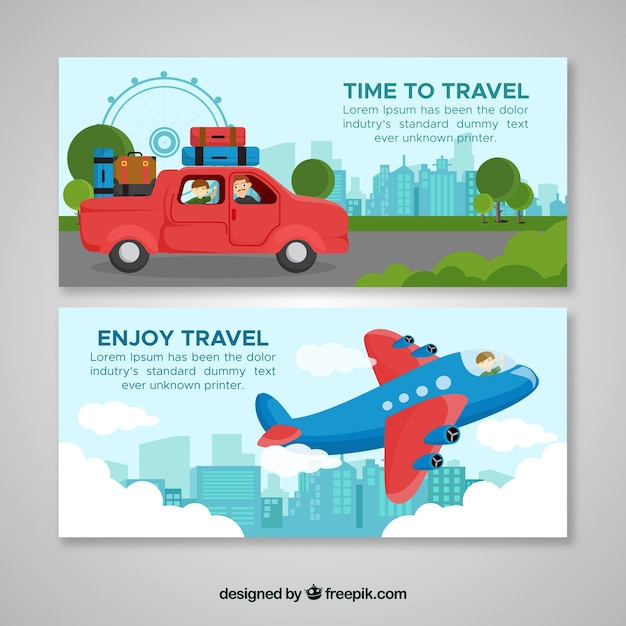 Colorful travel banners with flat design Free Vector