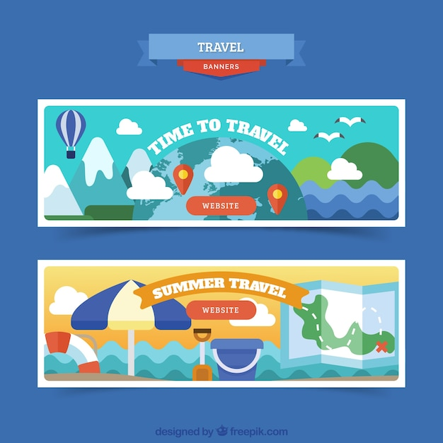Colorful travel banners with landscape in flat design