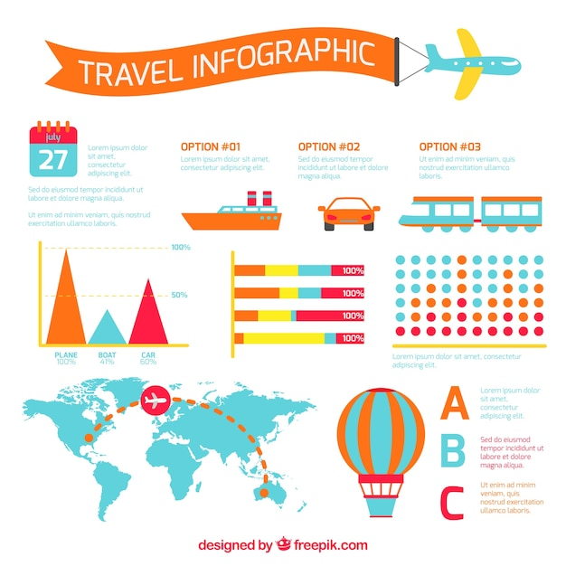 Colorful travel infography with transports Free Vector