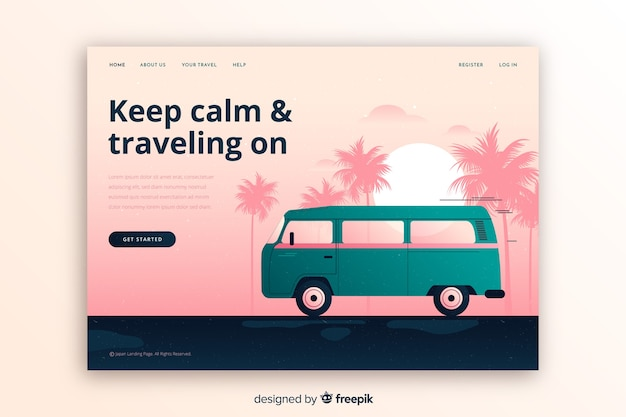 Colorful travel landing page Free Vector