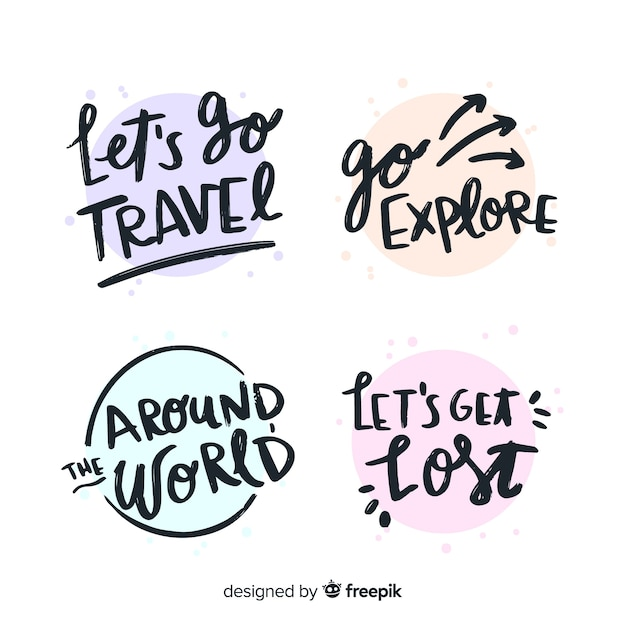 Colorful travel lettering badge collection Free Vector