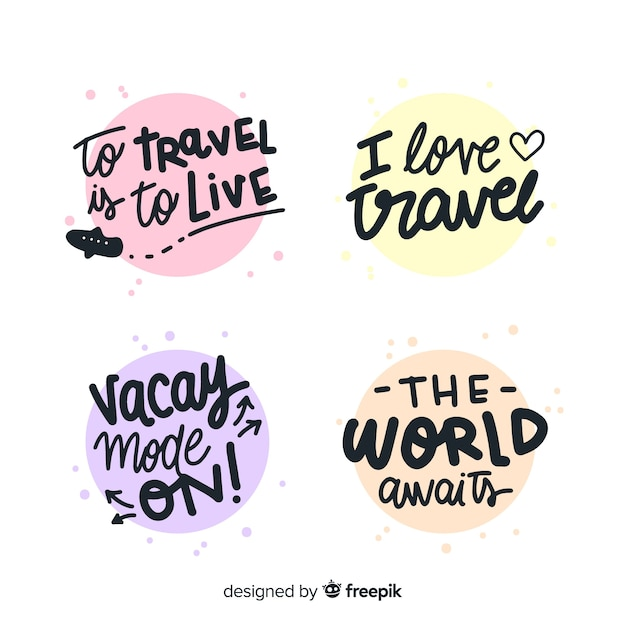 Colorful travel lettering badges collection Free Vector