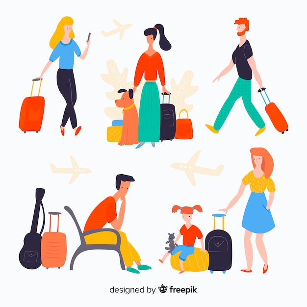 Colorful traveler in different situations set Free Vector