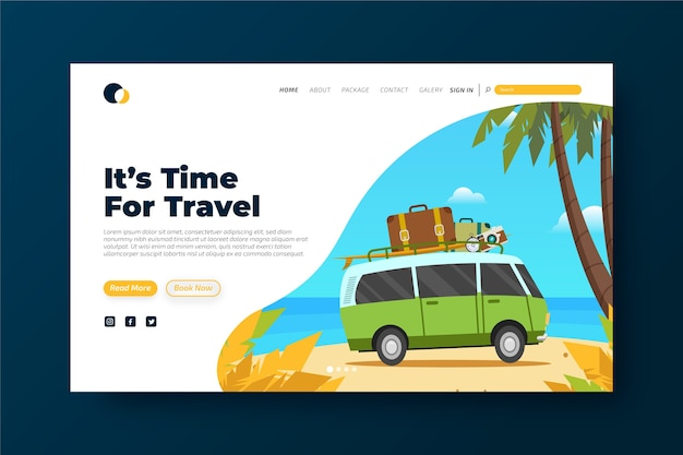 Colorful travelling landing page template Free Vector