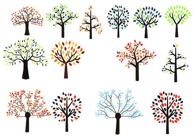 Colorful trees Premium Vector