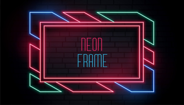 Colorful trendy neon frame with text space Free Vector