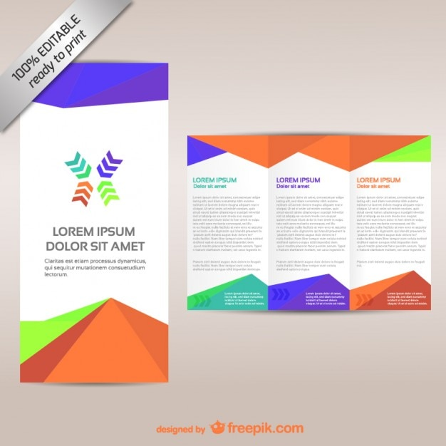 Colorful tri fold brochure template vector free download for Free printable tri fold brochure template