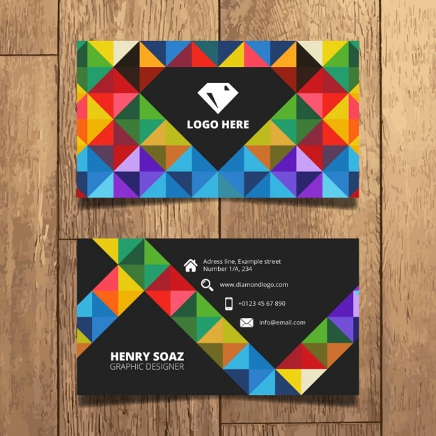 Colorful Triangles Business Card Design Vector Free Download