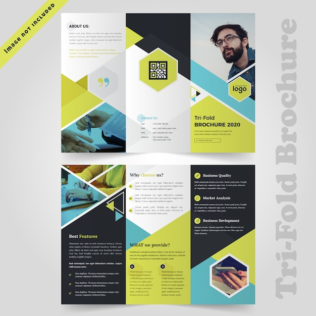 Colorful trifold brochure design Premium Vector