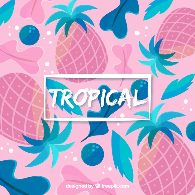 Colorful tropical background with pineapples and leaves Free Vector