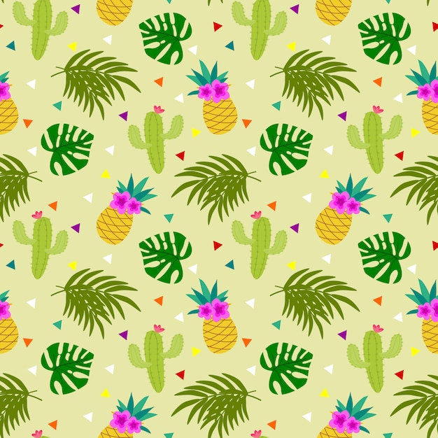 Colorful tropical element seamless pattern. Premium Vector