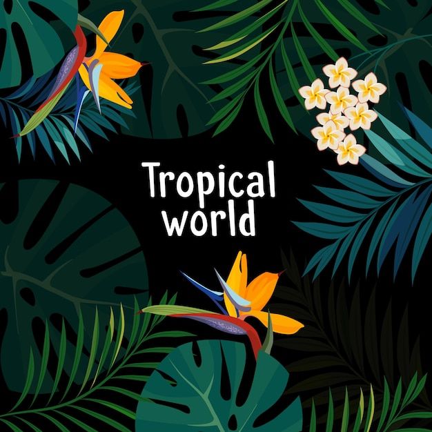 Colorful tropical flower, plant and leaf pattern background. Premium Vector