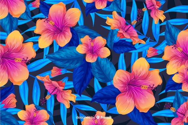 Colorful tropical flowers and leaves background Free Vector