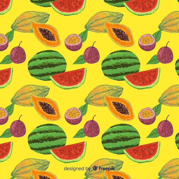 Colorful tropical fruits pattern Free Vector