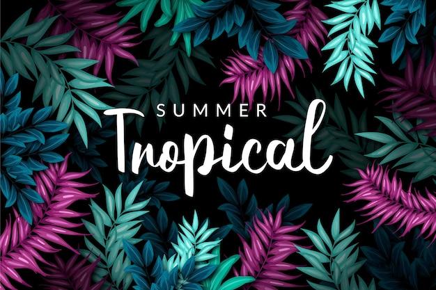 Sfondo colorato foglie tropicali con scritte Vettore gratuito