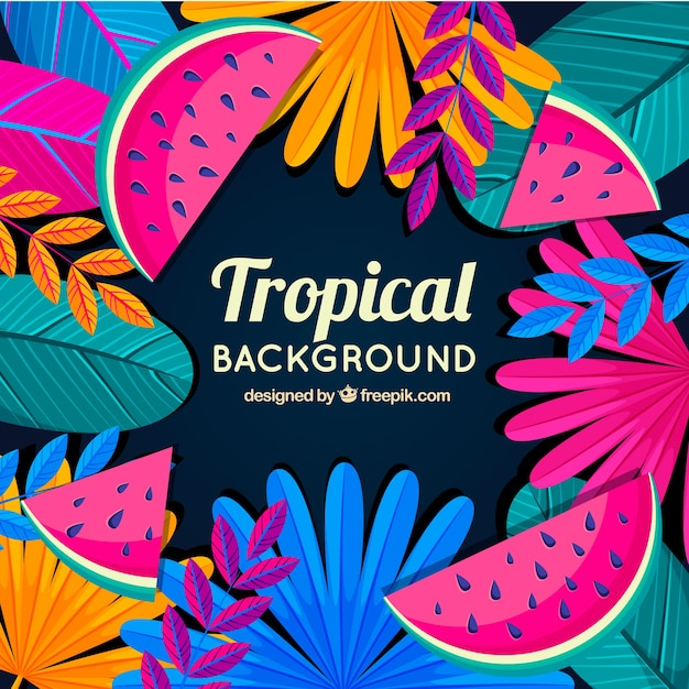 Colorful tropical leaves background Free Vector