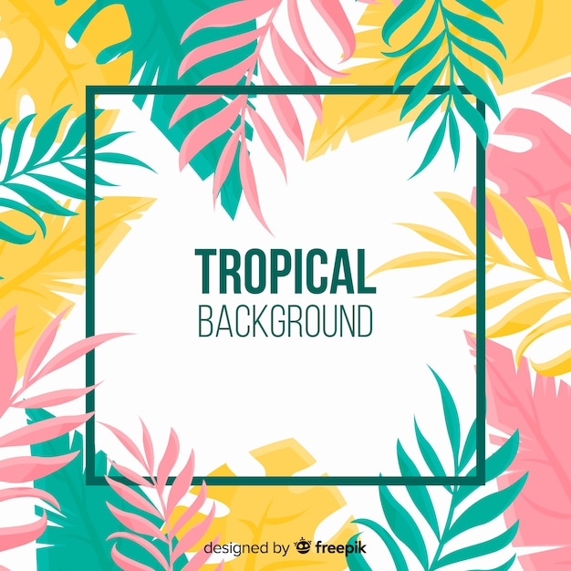 Free Vector Colorful Tropical Leaves Background Tropical leaves vector art pack. colorful tropical leaves background