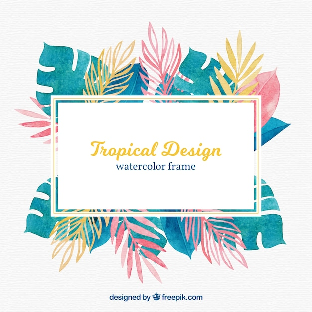 Colorful tropical leaves frame Free Vector