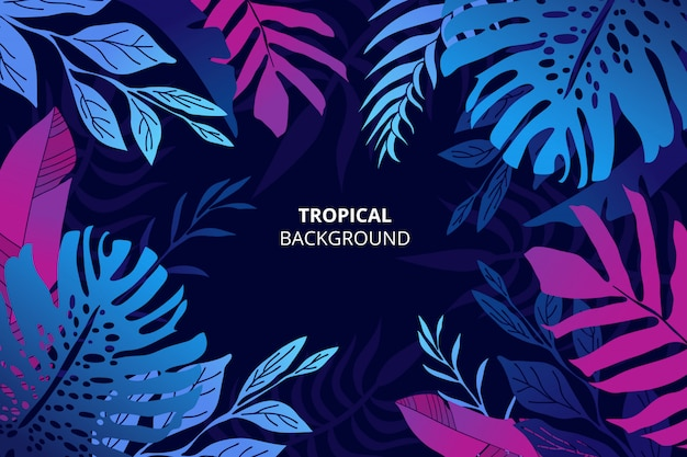 Colorful tropical nature background with hand drawn palm leaves Free Vector
