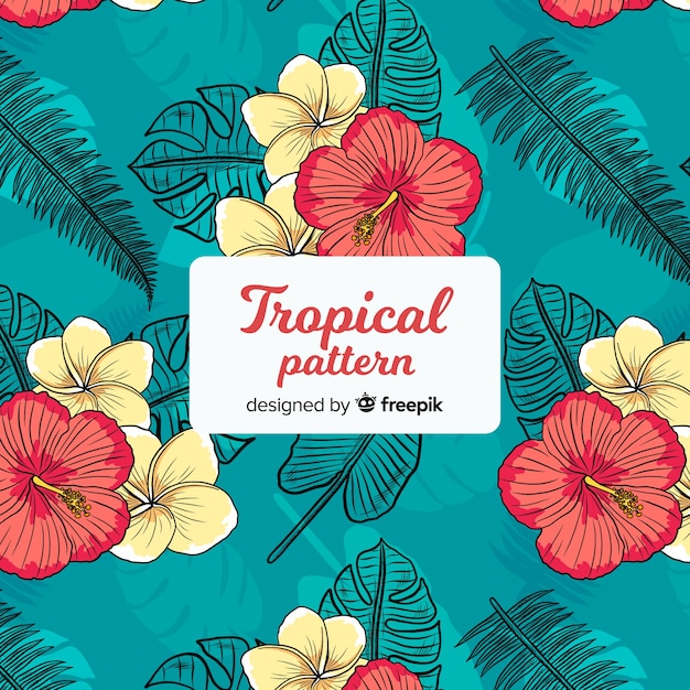 Colorful tropical pattern with flowers Free Vector