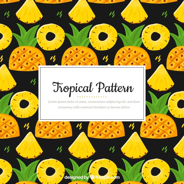 Colorful tropical pattern with pineapple Free Vector