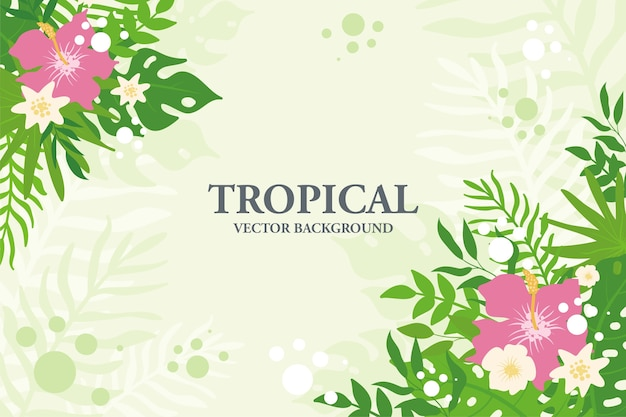 Colorful tropical plants, leaves and flowers background. horizontal floral frame with space for text Premium Vector