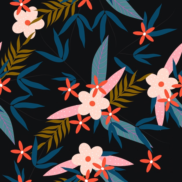 Colorful tropical spring floral seamless pattern Premium Vector