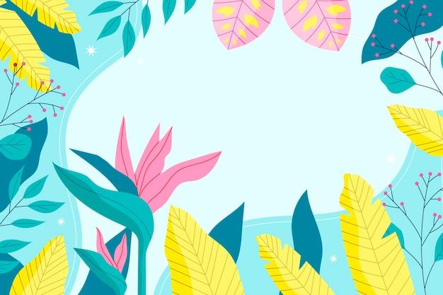 Красочные тропические обои с пустым пространством Бесплатные векторы