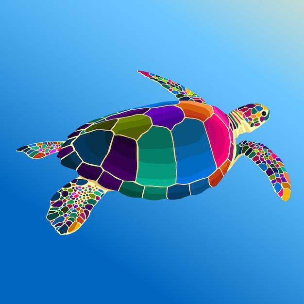 Colorful turle pop art vector style Premium Vector