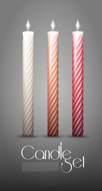 Collezione di candele accese contorte colorate Vettore gratuito