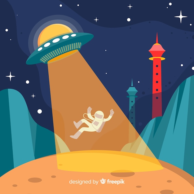 Colorful ufo abduction concept with flat design Free Vector