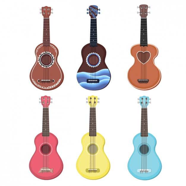 Colorful ukulele collection Free Vector