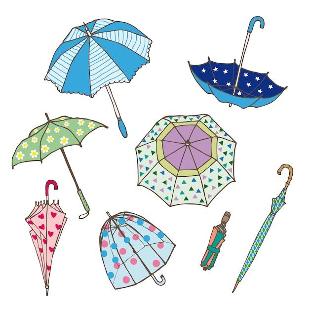 Collezione di ombrelli colorati Vettore gratuito