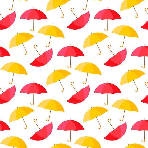 カラフルな傘シームレスな背景パターンイラスト Premiumベクター