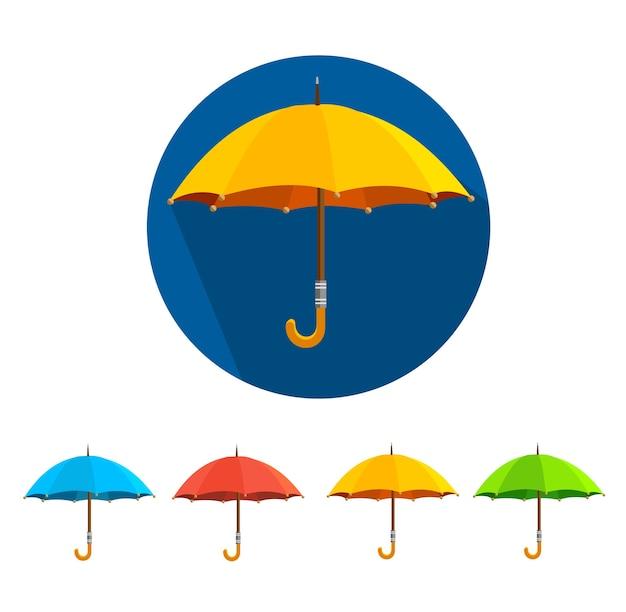カラフルな傘セットは、白い背景で隔離。 Premiumベクター