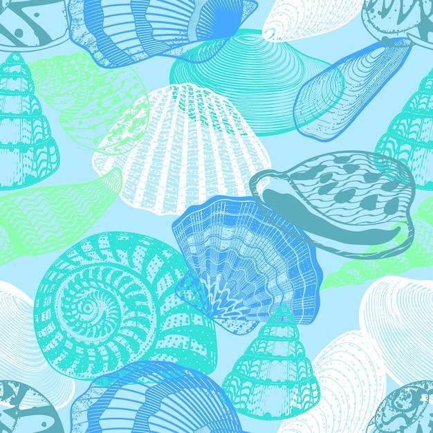 カラフルな水中海の生活のシームレスパターン 無料ベクター