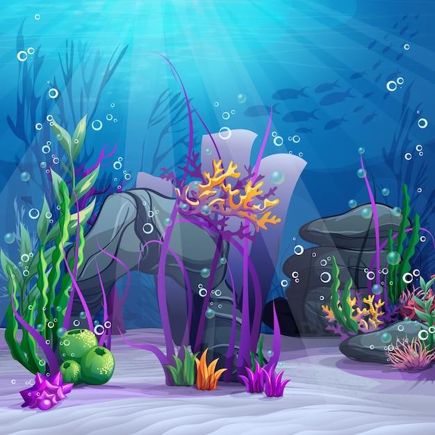 Красочный подводный мир Premium векторы