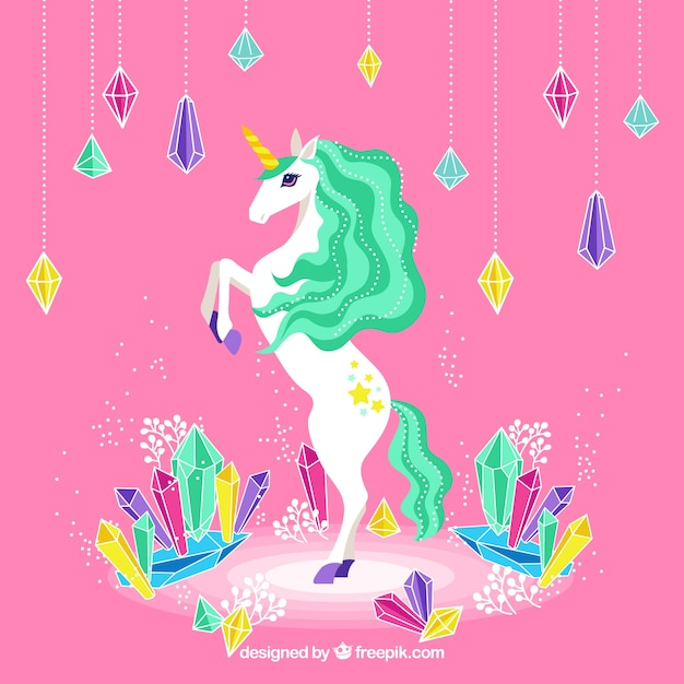 Colorful unicorn and diamonds