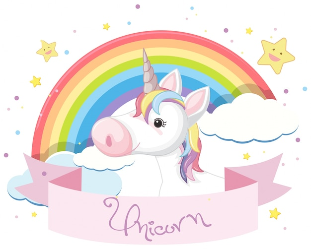 Colorful unicorn and rainbow in sky Vector | Premium Download