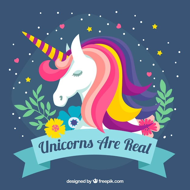 Colorful unicorn background and floral elements Free Vector