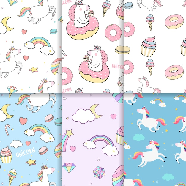 Colorful unicorn seamless pattern background vectors Free Vector