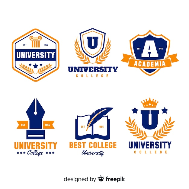 Colorful University Logo Collection With Flat Design Vector