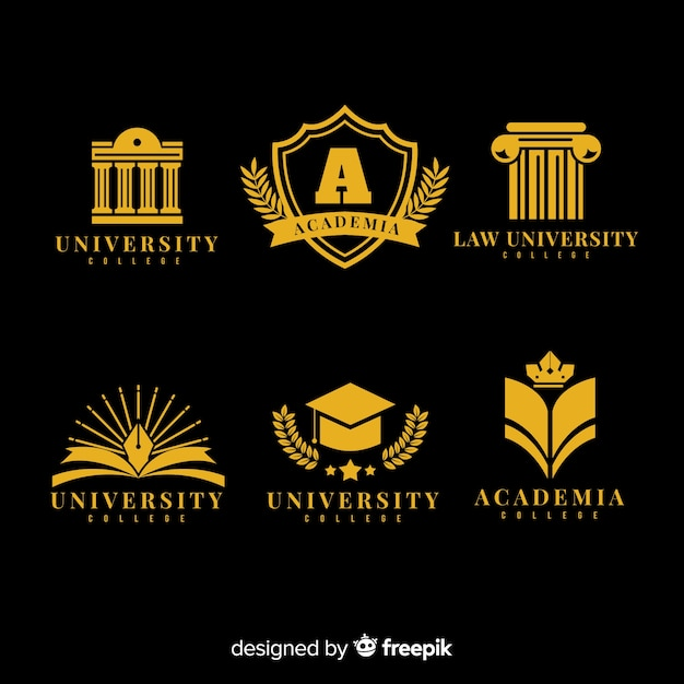 Colorful university logo collection with flat design Free Vector