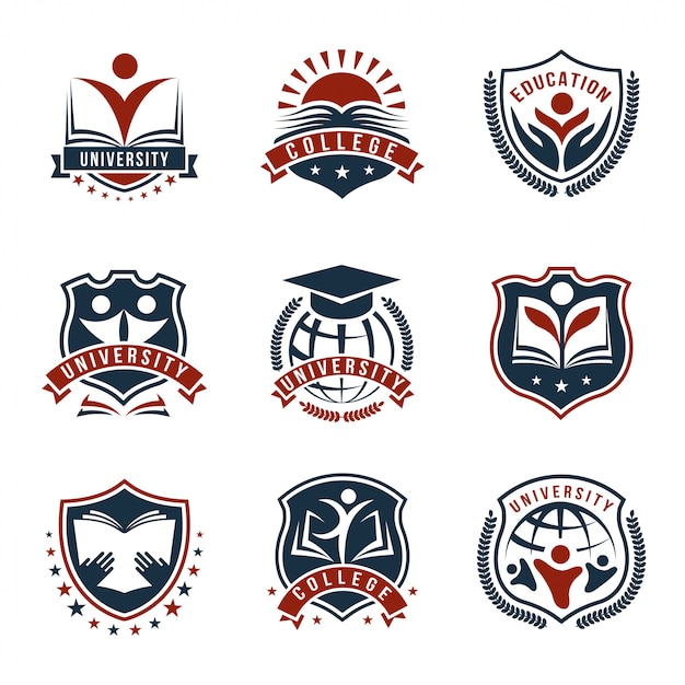 Colorful university logos isolated set Free Vector